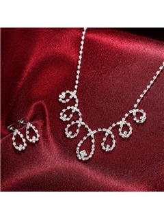 Water Drop Shaped Two Pieces Wedding Jewelry Set