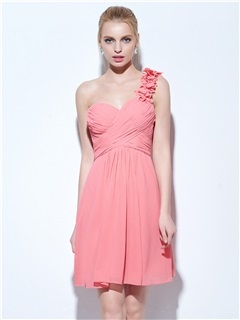 One Shoulder Pleats Short Homecoming Dress