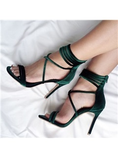 PU Zipper Stiletto Heel Fashion Sandals