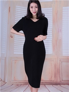Plain V-Neck Knit Maternity Dress