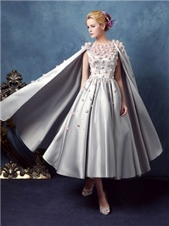 Vintage Flowers Pearls Tea-Length Prom Dress