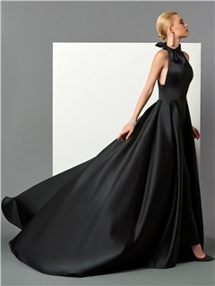 Gorgeous High Neck A-Line Bowknot Court Train Evening Dress
