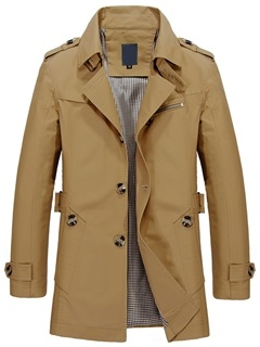 Solid Color Buttons Casual Men's Notched Collar Jacket