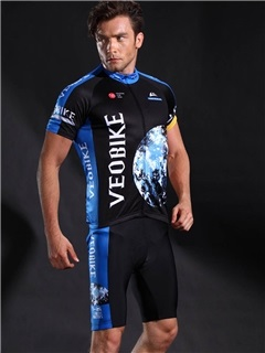 Polyester Breathable Quick Drying Short Sleeve Cycling Suit