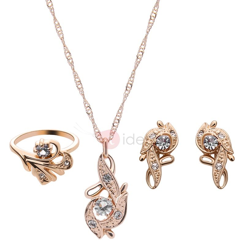 Gold Diamante Three Pieces Jewelry Set