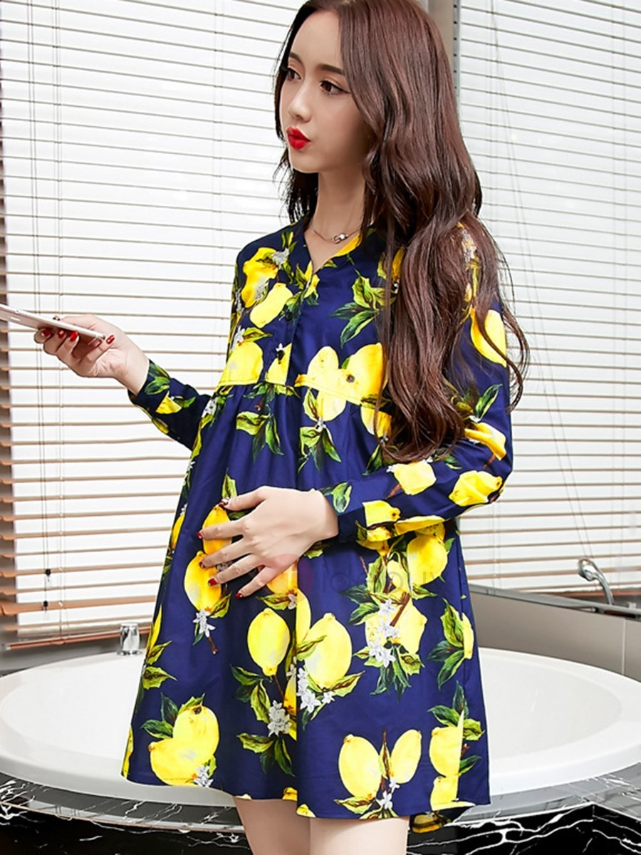 Plant Printing Loose-Fit Maternity Dress