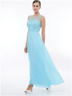 Sheer Neck Straps Lace Long Prom Dress