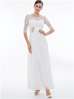 Buy Fancy Scoop Neck Half Sleeves Lace Evening Dress