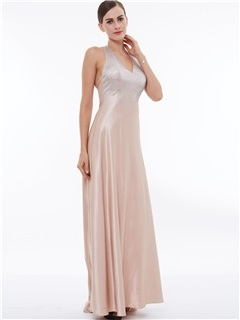 Shiny Halter Beading A-Line Evening Dress