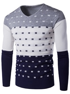 Heart-Shaped Neck Unique Print Men's Casual Sweater