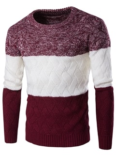 Patchwork Crew Neck Men's Causal Sweater