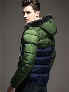 Patchwork Hooded  Men's Causal Down Jacket