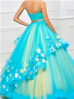 Pretty Spaghetti Straps Pleats Floor-Length Quinceanera Dress