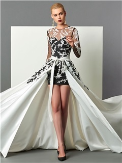 Hot Sheath Scoop Long Sleeves Appliques Sashes Court Train Evening Dress 10