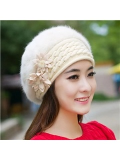 Solid Color Warm Fur Beret Hat