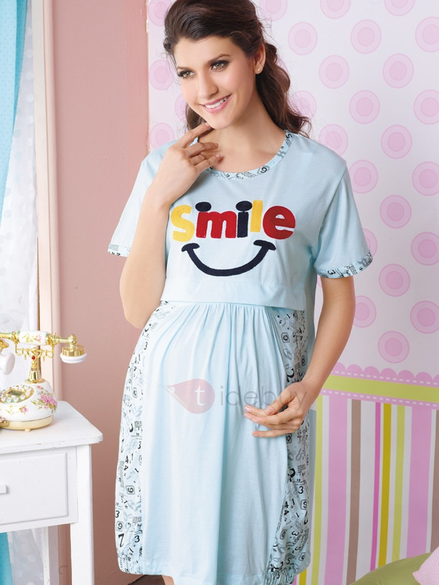 Short Sleeve Lace Patchwork Maternity Dress