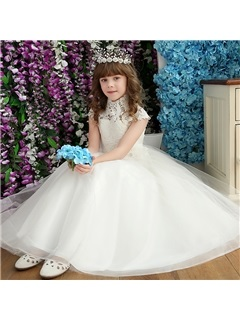 Beautiful High Neck Bowknot Ball Gown Flower Girl Dress