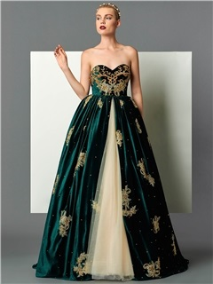 Vintage Sweetheart Ball Gown Appliques Beading Embroidery Floor-Length Evening Dress