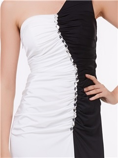 One Shoulder Beading Contrast Color Evening Dress