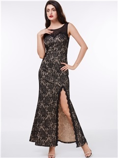 Straps Split-Front Black Lace Evening Dress