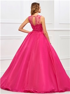 Charming Jewel Neck Ball Gown Appliques Floor-Length Quinceanera Dress