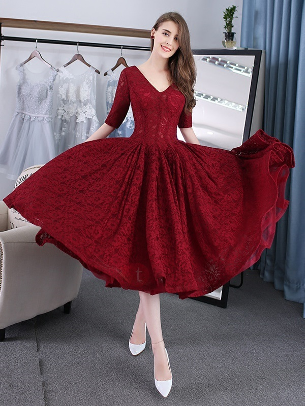 Nice A-Line V-Neck Half Sleeves Lace Tea-Length Prom Dress