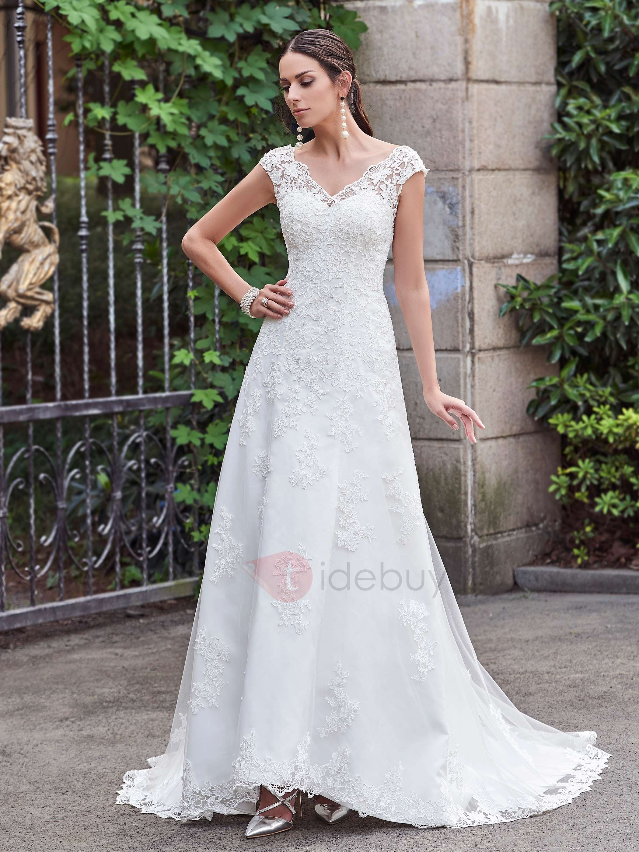 Classic V Neck A Line Lace Wedding Dress