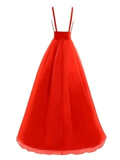 Simple A-Line V-Neck Pleats Floor-Length Prom Dress