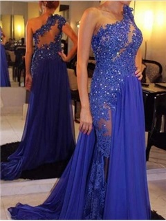 Gorgeous A-Line One-Shoulder Appliques Beaded Court Train Evening Dress