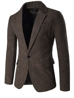 Notched Collar Single-Button Men's Causal Blazer