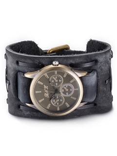 Vintage Style Black Leather Men's Watch