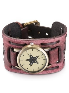 Star Pattern Red Leather Bracelet Watch