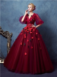 Buy VIntage V-Neck Ball Gown Half Sleeves Pleats Floor-Length Quinceanera Dress