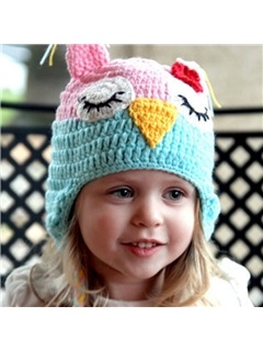Pink and Blue Woolen Yarn Kid's Hat