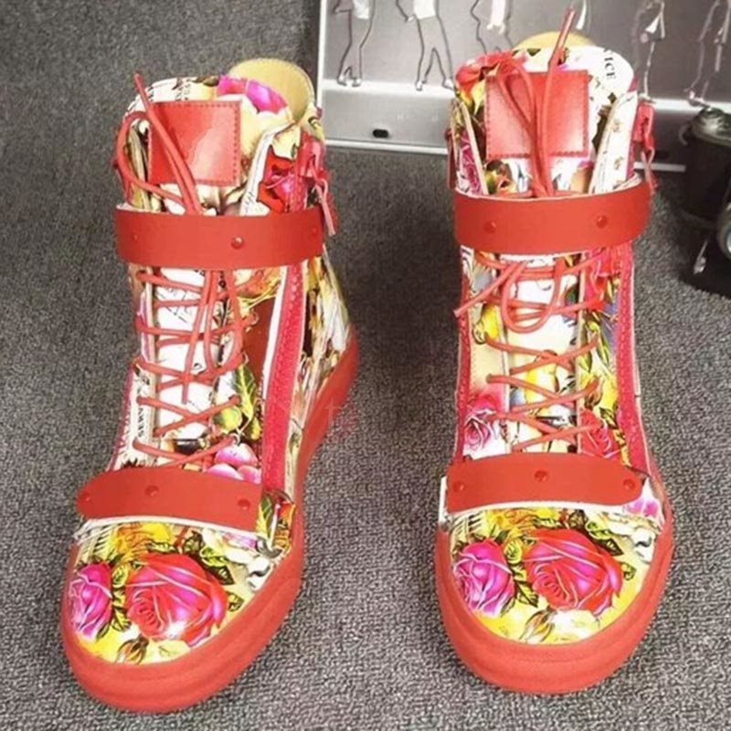 Printing Leather Floral Velcro Men's Boots