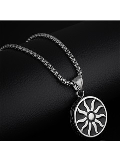 Black Sun God Pendant Men's Necklace