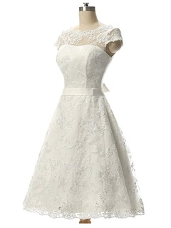 Simple Bateau Neck Lace Knee Length A Line Wedding Dress