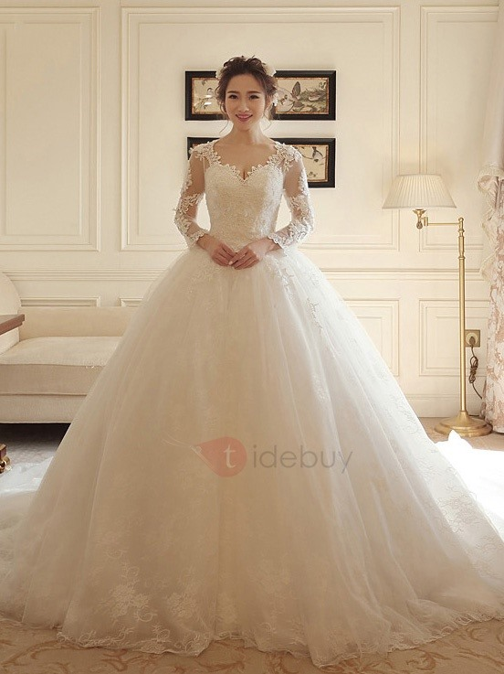 V Neck Long Sleeves Beaded Appliques Ball Gown Wedding Dress