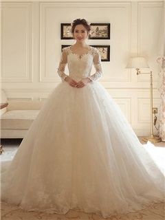 Buy V Neck Long Sleeves Beaded Appliques Ball Gown Wedding Dress