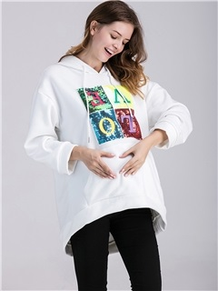 Loose-Fit Lined Letters-Print Maternity Hoodie