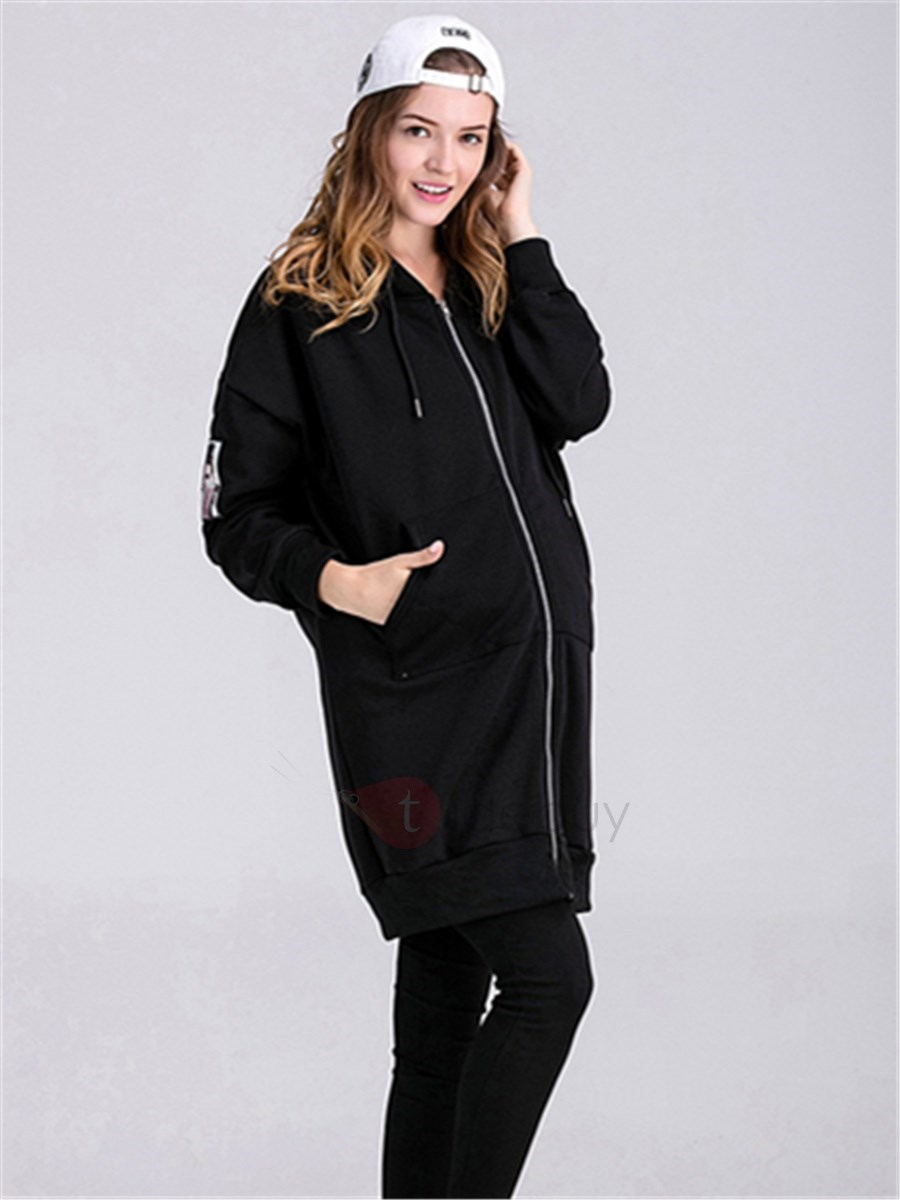 Relaxed Fit Black Zipper Maternity Hoodie