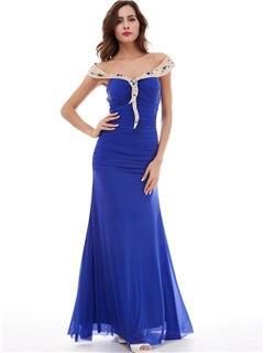 Unique Chiffon One-Shoulder Beaded Sheath Evening Dress