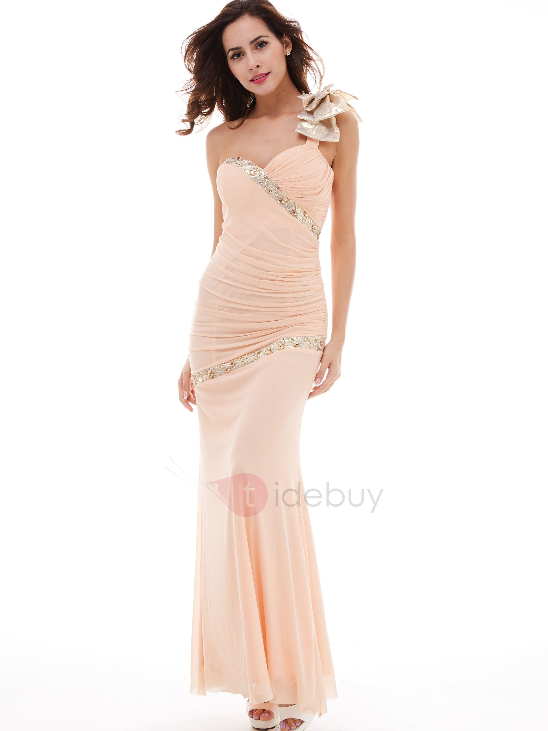 Elegant Beading Pleated Sheath/Column Evening Dress