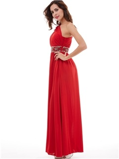 Charming One-Shoulder Pleated Beading A-Line Evening Dress
