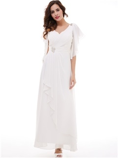 Nice Beading V-Neck Pleated Chiffon Long Evening Dress