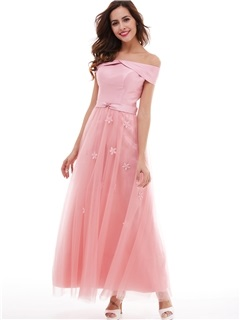 Nice A-Line Lace-Up Off-The-Shoulder Flowers Long Evening Dress