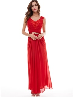 Popular V-Neck Lace Pleated A-Line Evening Dress