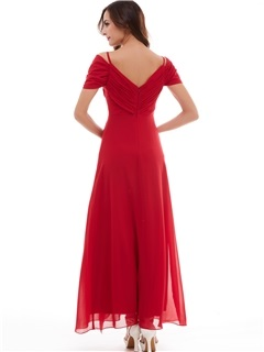 Classic A-Line Spaghetti Straps Draped Pleats Beading Long Evening Dress