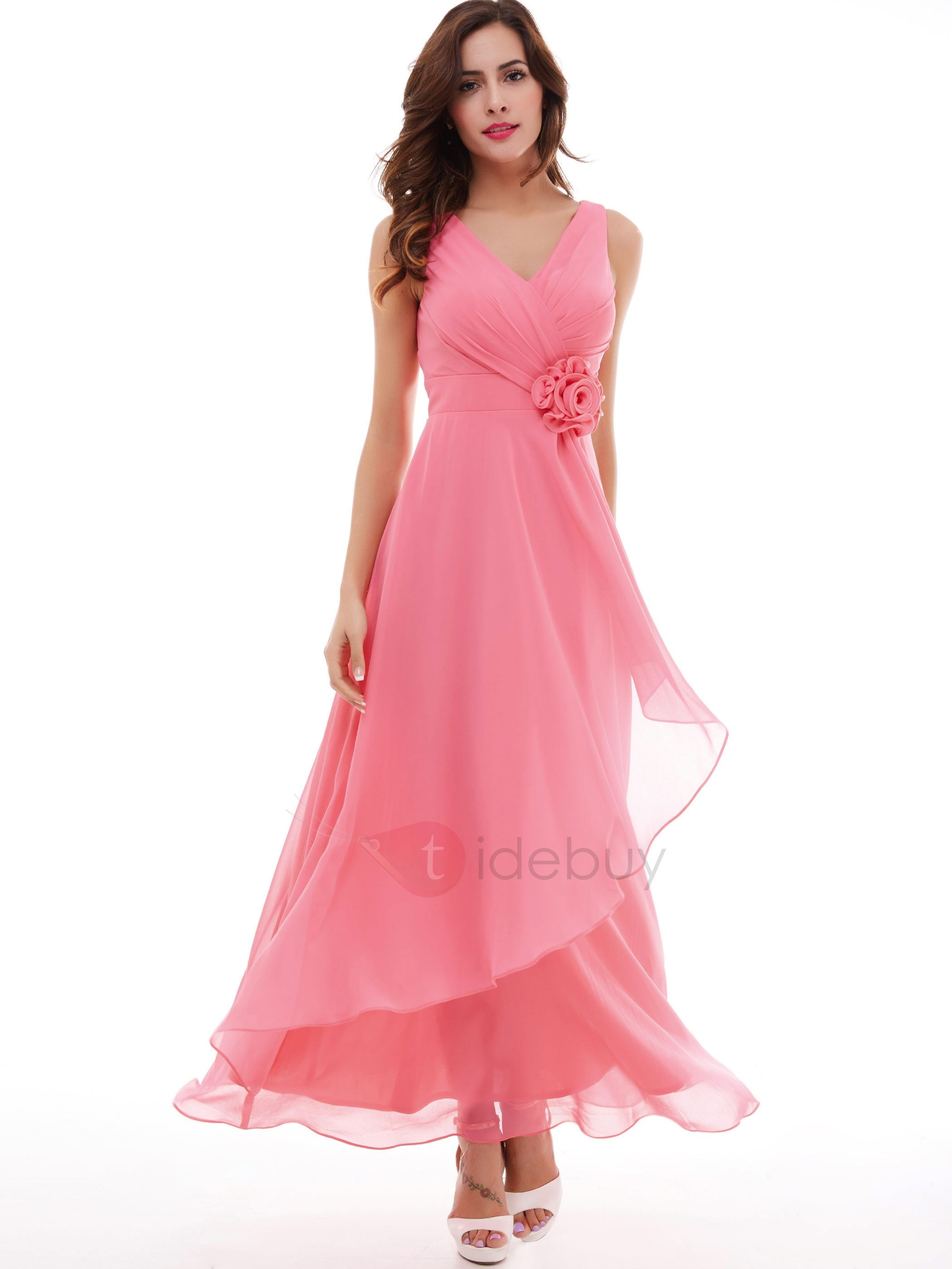 Lovely V-Neck A-Line Pleated Flower Long Evening Dress