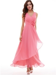 Lovely V-Neck A-Line Pleated Chiffon Flower Long Evening Dress